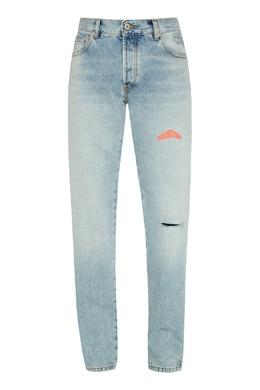 Голубые джинсы с прорезью Heron Preston 2771185009