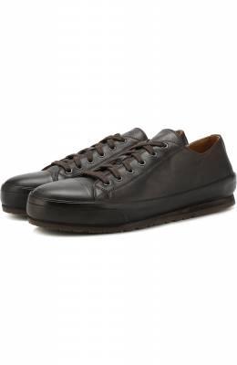 Кожаные кеды на шнуровке Brioni QHG90L/07730