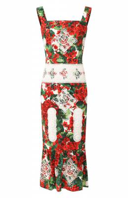 Платье из смеси хлопка и вискозы Dolce&Gabbana F6C3MZ/FGMEF