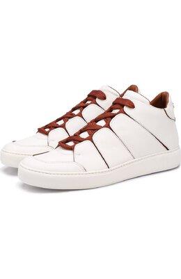 Высокие кожаные кеды на шнуровке Zegna Couture A2891X-SWI