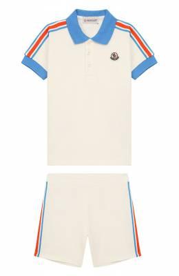 Комплект из хлопкового поло и шорт Moncler Enfant E1-951-88128-05-8496F