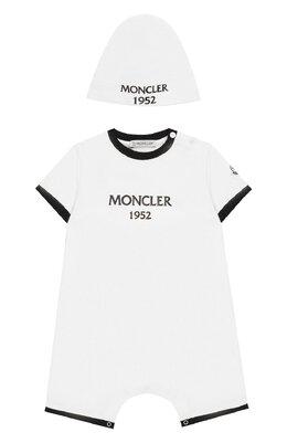 Комплект из хлопкового комбинезона и шапки Moncler Enfant E1-951-88137-06-8790A