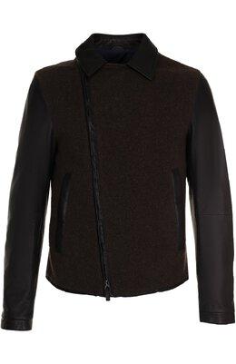 Кожаная куртка с косой молнией и шерстяной отделкой Giorgio Armani ZSR07P/ZSP09
