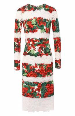 Платье из смеси хлопка и вискозы Dolce&Gabbana F6C3BZ/FGMFK
