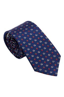 Синий галстук с ярким рисунком Gucci 470185016