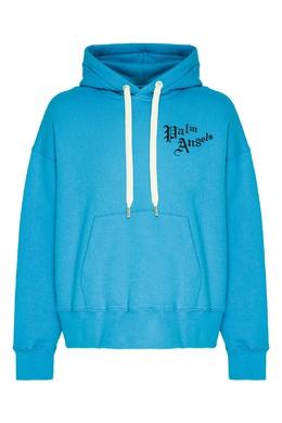 Голубое худи с логотипом Palm Angels 1864184979