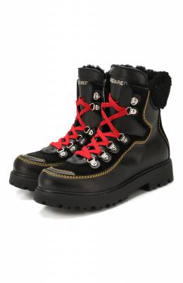 Кожаные ботинки с меховой отделкой Dsquared2 62451/28-35