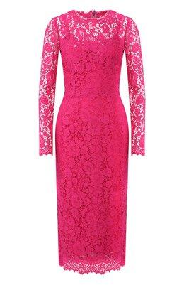 Кружевное платье-миди с круглым вырезом Dolce&Gabbana F69Q7T/HLMHW