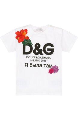 Футболка джерси с принтом и аппликациями Dolce&Gabbana 0131/L2JT7P/G7KVN