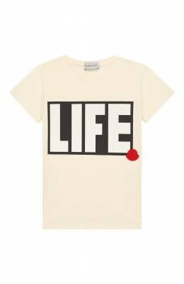 Хлопковая футболка Moncler Enfant E2-954-80758-50-87275/8-10A