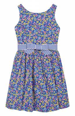 Хлопковое платье с поясом Polo Ralph Lauren 313735954