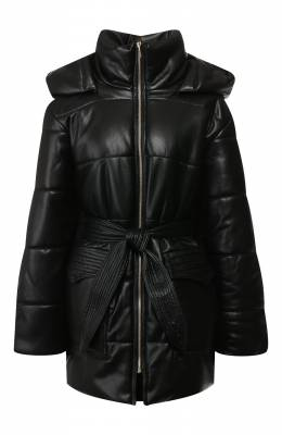 Утепленная куртка с поясом Nanushka LEN0X_BLACK_VEGAN LEATHER