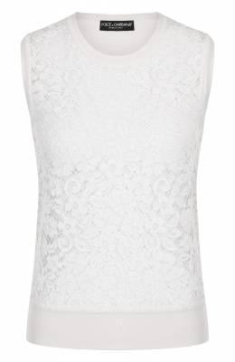 Кружевной топ из смеси шелка и хлопка Dolce&Gabbana FX183T/JAMJN