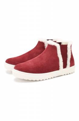 Замшевые ботинки с меховой отделкой Il Gufo G986/VEL0UR PESANTE/31-34