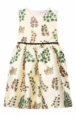 Платье из шелка и хлопка Oscar De La Renta 19FGN606BR