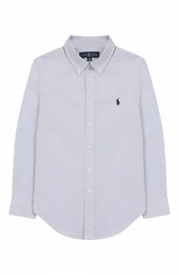 Хлопковая рубашка с воротником button down Ralph Lauren 323600259
