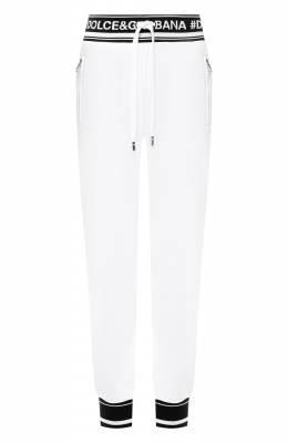 Хлопковые джоггеры с контрастной отделкой и логотипом бренда Dolce&Gabbana FTA7RT/FU7DU