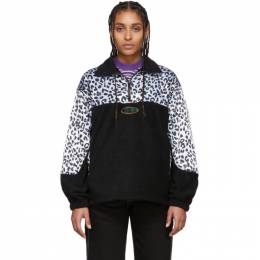 Noon Goons Black and White Leopard Half-Zip Sweatshirt NGSS20012