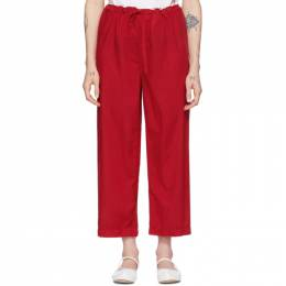 Comme Des Garcons Girl Red Tropical Cropped Trousers NE-P005-051