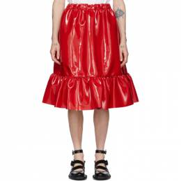 Comme Des Garcons Girl Red Patent Faux-Leather Skirt NE-S001-051