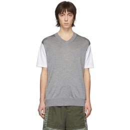 Junya Watanabe White and Grey Thin Knit Jersey T-Shirt WE-N004-051
