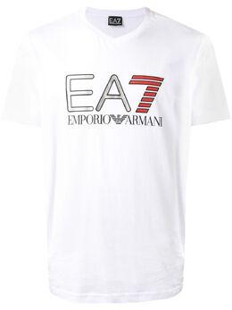 Ea7 футболка EA7 с логотипом металлик и V-образным вырезом 3HPT06PJ02Z