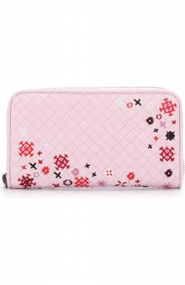 Кожаное портмоне с плетением intrecciato и вышивкой Bottega Veneta 114076/VBIN1