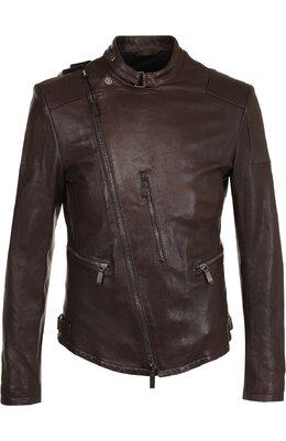 Кожаная куртка с косой молнией и воротником-стойкой Giorgio Armani ZSR06P/ZSP08