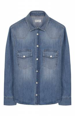 Хлопковая рубашка Brunello Cucinelli BE6454078B