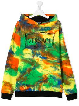 Young Versace худи с эффектом разбрызганной краски YD000144YA000781