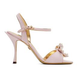 Dolce&Gabbana Pink Bow Tie Strap Heeled Sandals CR0962 AJ696