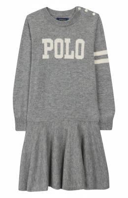 Платье из шерсти и хлопка Polo Ralph Lauren 312751081