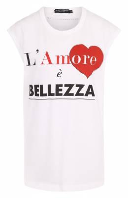 Хлопковый топ свободного кроя с принтом Dolce&Gabbana F8H93T/FH7MN