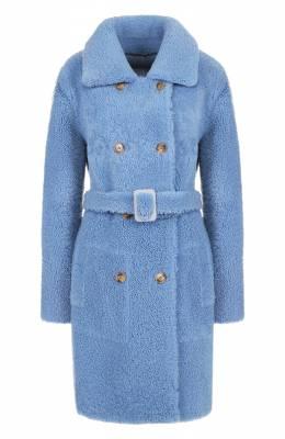 Двубортное пальто из овчины с поясом Yves Salomon 9WYM70590MERX