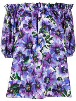 Dolce&Gabbana блузка с открытыми плечами и цветочным принтом F71J7THS5GD
