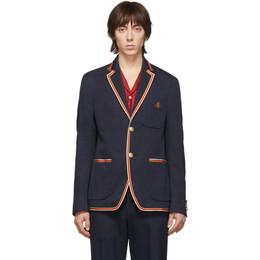 Gucci Navy Whipcord Cover Blazer 598648 ZABK2