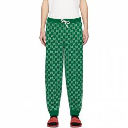 Gucci Green and Off-White Wool GG Lounge Pants 599843 XKA4S