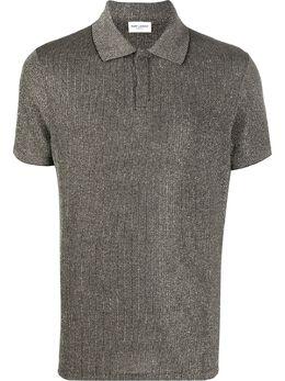 Saint Laurent рубашка-поло с эффектом металлик 597023YBOD2