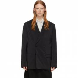 Lemaire Black Silk Double-Breasted Blazer X 201 JA133 LF208