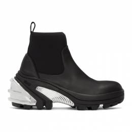 1017 Alyx 9Sm Black and Silver Rubber Boots AAUBO0026FA01BLK0001