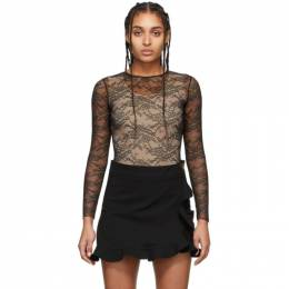 Red Valentino Black Lace Long Sleeve Bodysuit TR3MC00H4YG