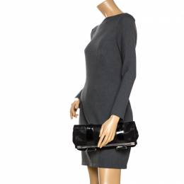 Gianfranco Ferre Black Fabric and Patent Leather Flap Clutch 266568
