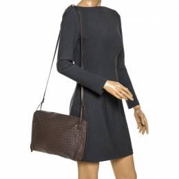 Bottega Veneta Gris Poivre Intrecciato Leather Crossbody Bag 266563