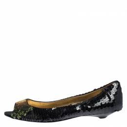 Prada Black Sequin Peep Top Ballet Flats Size 37.5 266916