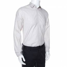 Louis Vuitton Off White Printed Cotton Long Sleeve Shirt M 268032