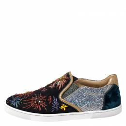 Christian Louboutin Multicolor Suede and Velvet Master Key On Fire Slip On Sneakers Size 38.5