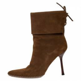 Gucci Camel Suede Leather Pointed Toe Ankle Boots Size 39 268851
