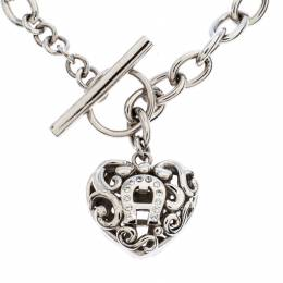 Aigner Silver Plated Crystal Cutwork Heart Charm Toggle Bracelet 268856