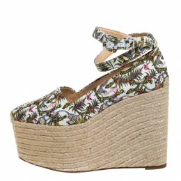 Christian Louboutin Multicolor Jungle Canvas Dehia Espadrille Platform Pumps Size 40 267651