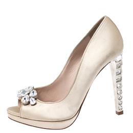 Miu Miu Beige Satin Jewel Embellished Peep Toe Platform Pumps Size 38 267479